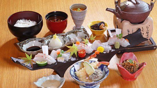 紅葉鯛と蟹天ぷら御膳